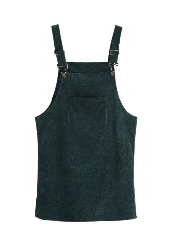 TALLA S. SOLY HUX Mujer Pichi Falda Peto de Canalé con Bolsillo en la Parte Delantera Verde S