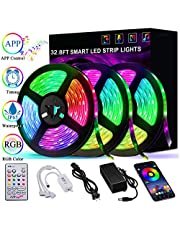 Led Strip Lights 32.8ft 10m Smart Music Sync LED Light Waterproof RGB Led Strips with APP Bluetooth IR Control and 12v Power Supply, 300 LED Strip Lighting for Bedroom Party Home Decoration