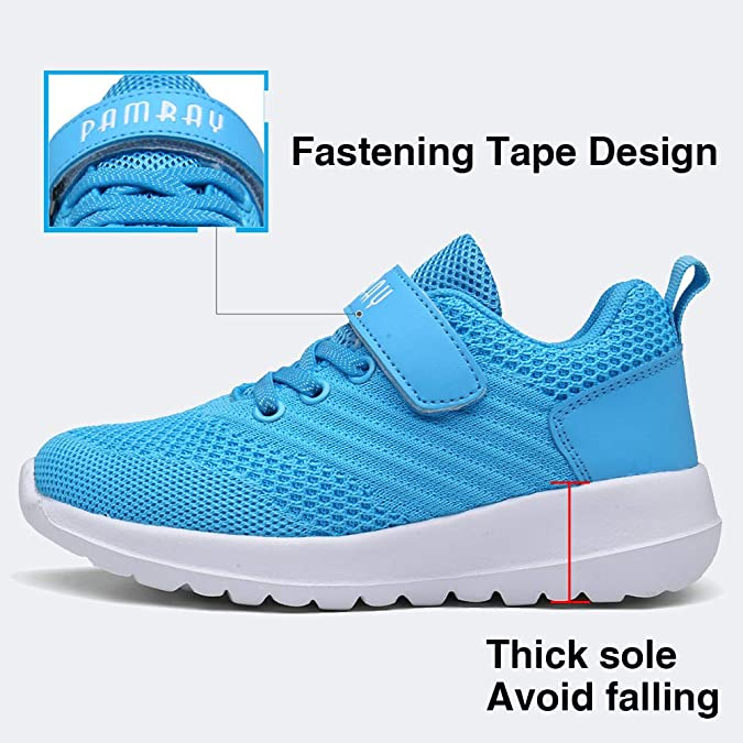 PAMRAY Kids Sport Shoes Boys Girls Tennis Running Athletic Walking Gym Jogging Sneakers Breathable Lightweight