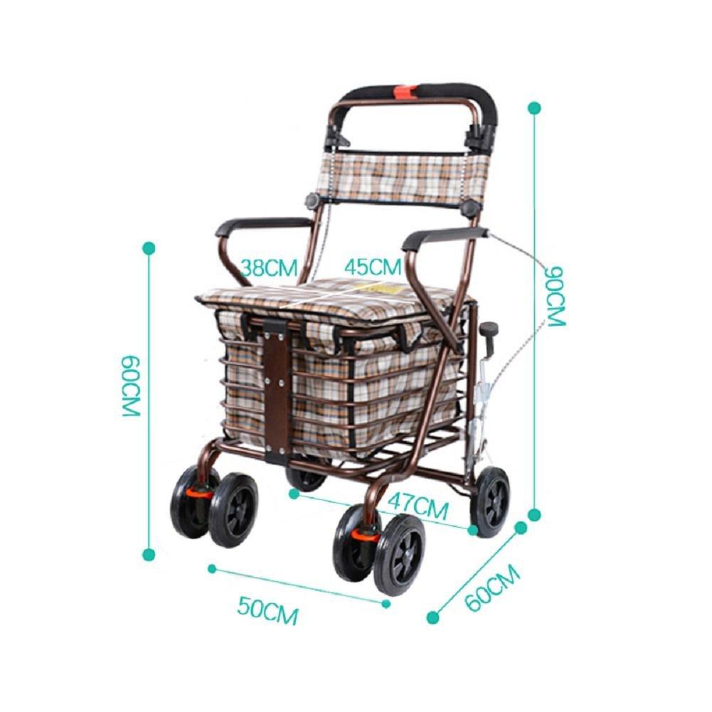Peso ligero plegable cuatro ruedas Rollator Walker con asiento acolchado, asiento de compras de ancianos scooter plegable, cuatro rondas para comprar latas ...