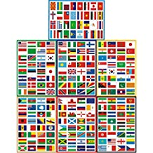 T&B Countries Flags Stickers 224PCS Multi Territorial Maps Nations Patterns Face Stickers Travel Waterproof Stickers Children's Room Decor Labels A4 7PACKS