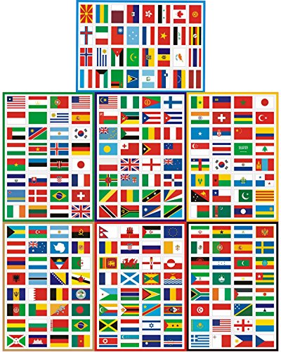T&B Countries Flags Stickers 224PCS Multi Territorial Maps Nations Patterns Face Stickers Travel Waterproof Stickers Children's Room Decor Labels Football Team Fifa World Cup A4 7PACKS