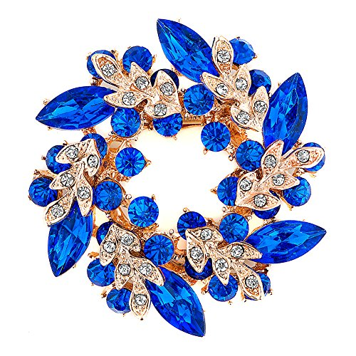 JewelryHouse Vintage Fancy Flower Leaf Imitation Crystal Brooches and Pins (Blue)