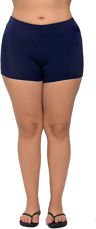 ATTRACO Womens Plus Size Swim Shorts Tankini Swimsuits Shorts Stretch Board Shorts