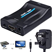 Scart to HDMI Adaptor, YBLNTEK Scart to HDMI Converter Analog to Digital Adapter 1080P Adapter Audio Video Adapter 21 Pin 60Hz for DVD Set-top Box HDTV PAL NTSC