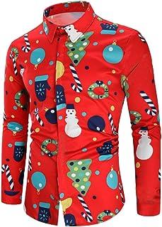 CieKen Men's Santa Claus Party Tropical Ugly Hawaiian Christmas Shirts