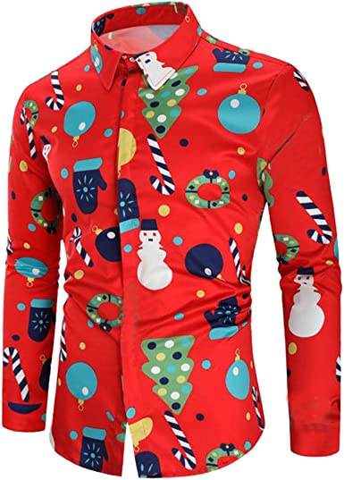 Aiserkly - Camisa Casual de Moda para Hombre, diseño navideño con Botones, Transpirable, cómoda, fácil Cuidado, Ajuste Regular, Color Rojo, Negro y Blanco Rojo Rosso S: Amazon.es: Ropa y accesorios