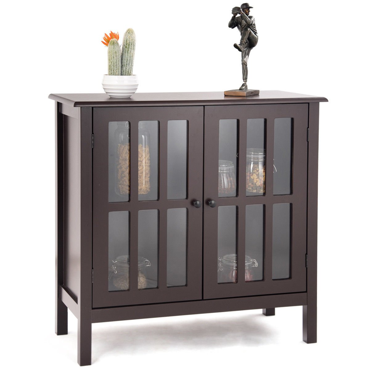 Tangkula Console Cabinet Storage White Glass Door Sideboard Console Table Server Display Buffet Cabinet (Brown)