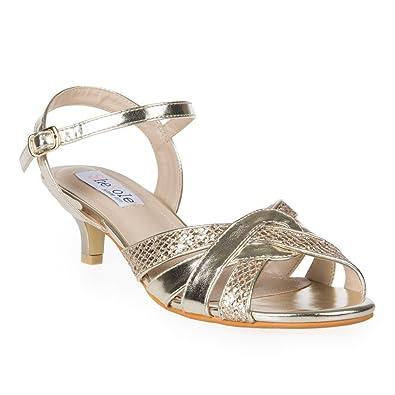 SheSole Womens Ladies Glitter Low Heel Sandals Wedding Evening Prom Dress Shoes Gold UK 3