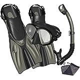 Promate Spectrum Snorkeling Mask Dry Snorkel Fins Gear Bag Set