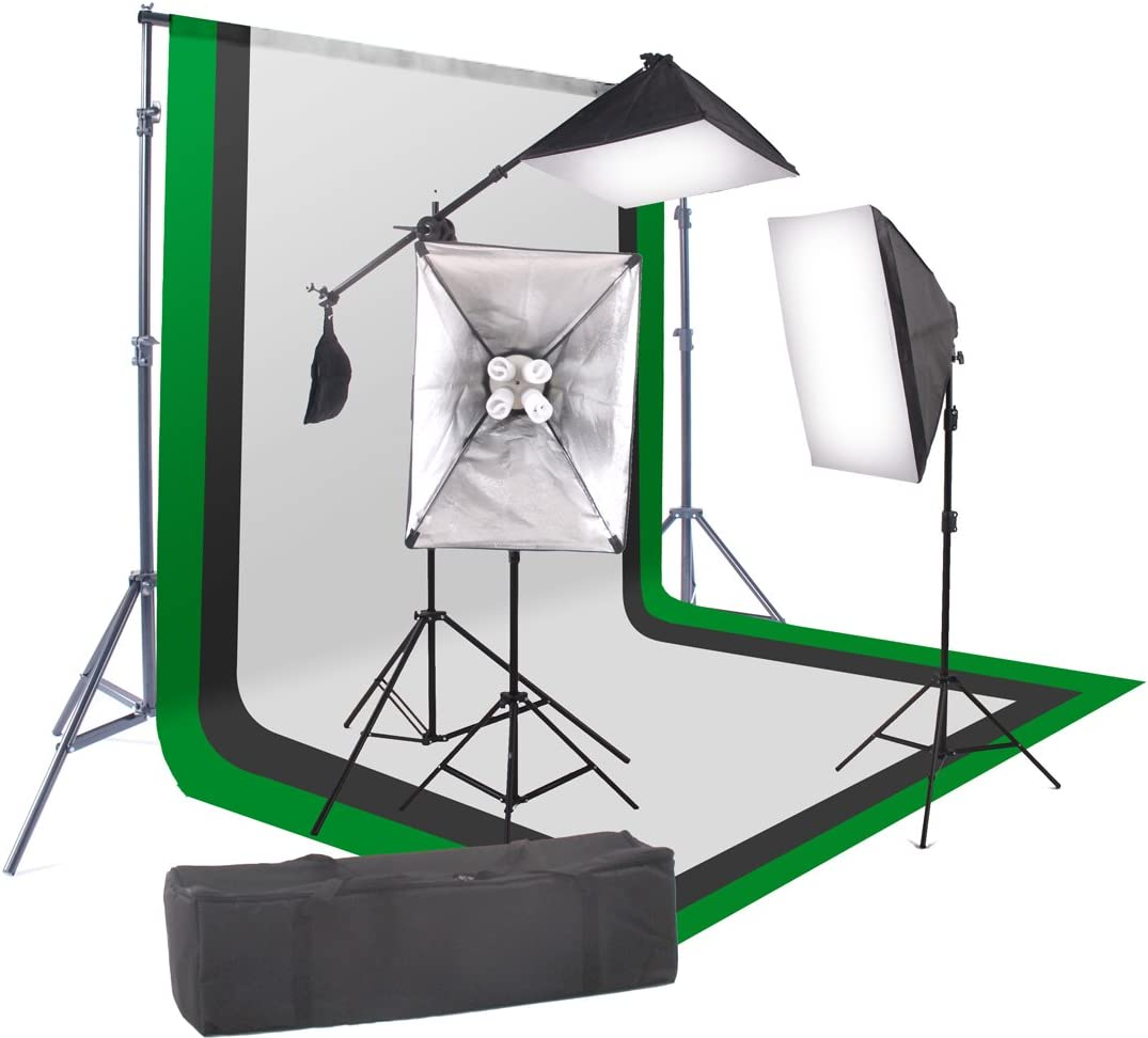 """StudioFX 2400 Watt Softbox Continuous Photo Lighting Kit 16""""x24"""" + Boom Arm and 6'x9' Black, White, Chromakey green Backdrop with Support Stand for Photography Video Studio H9004SB-69BWG by Kaezi"""
