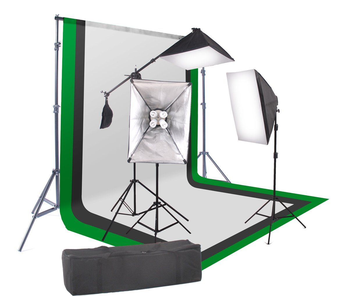 StudioFX 2400 Watt Softbox Continuous Photo Lighting Kit 16''x24'' + Boom Arm and 6'x9' Black, White, Chromakey green Backdrop with Support Stand for Photography Video Studio H9004SB-69BWG by Kaezi