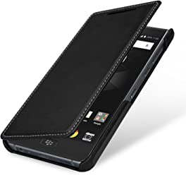 StilGut Book Type Case, Custodia per Blackberry Motion a Libro Booklet in Vera Pelle, Nero Nappa