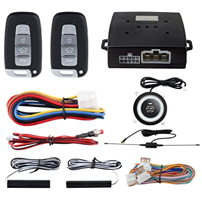 EASYGUARD EC003N-K-1 PKE Car Alarm System Proximity Lock Unlock Push Button Start Remote Engine Start Keyless Go System DC12V: Car Electronics