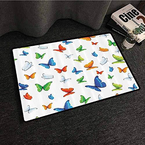 - Butterflies Decoration Fashion Door mat Butterflies Animal Clipart Ecology Environment Joyful Design Cartoon Tropics Super Absorbent mud W20 xL31