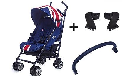 MINI by Easywalker Silla de paseo XL - Union Jack Classic + Easywalker Adaptador de asiento para automóvil + Easywalker Barra delantera de silla de ...