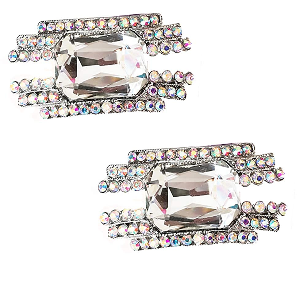 Fodattm Set of 2 Removable Sparkle Rhinestone Crystal Shoe Clips Flower Shoe Buckle Shoes Decoration Charms Dress Hat Shoes Clips for Wedding Party Decoration