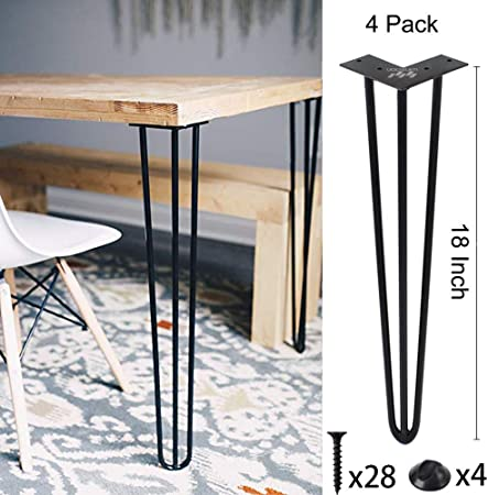 Winsoon Industrial Iron Hairpin Table Legs 18 Inch Set Of 4 Pack