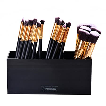 Hoomall Black Acrylic Makeup Brush Holder Organizer Box 3 Slot Cosmetics  Brushes Storage Solution