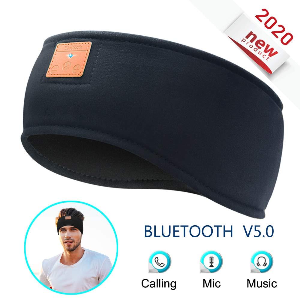 MOITA Sleep Headphones Bluetooth Sports Headband, Wireless Sports Headband Headphones with Ultra-Thin & Soft Sponge Stereo Speakers for Sleeping, Traveling, Jogging, Running, Meditation (Black)