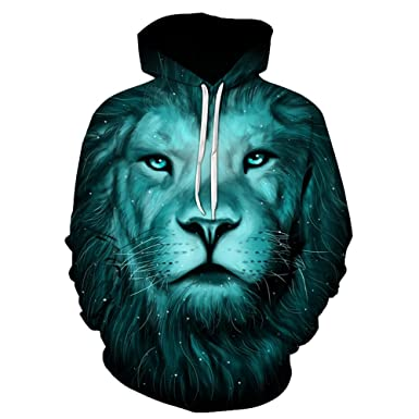 0bc171d9adc8 Hannea Men s Polyester Cotton 3D Lion Galaxy Print Pullover Hoodie (Blue