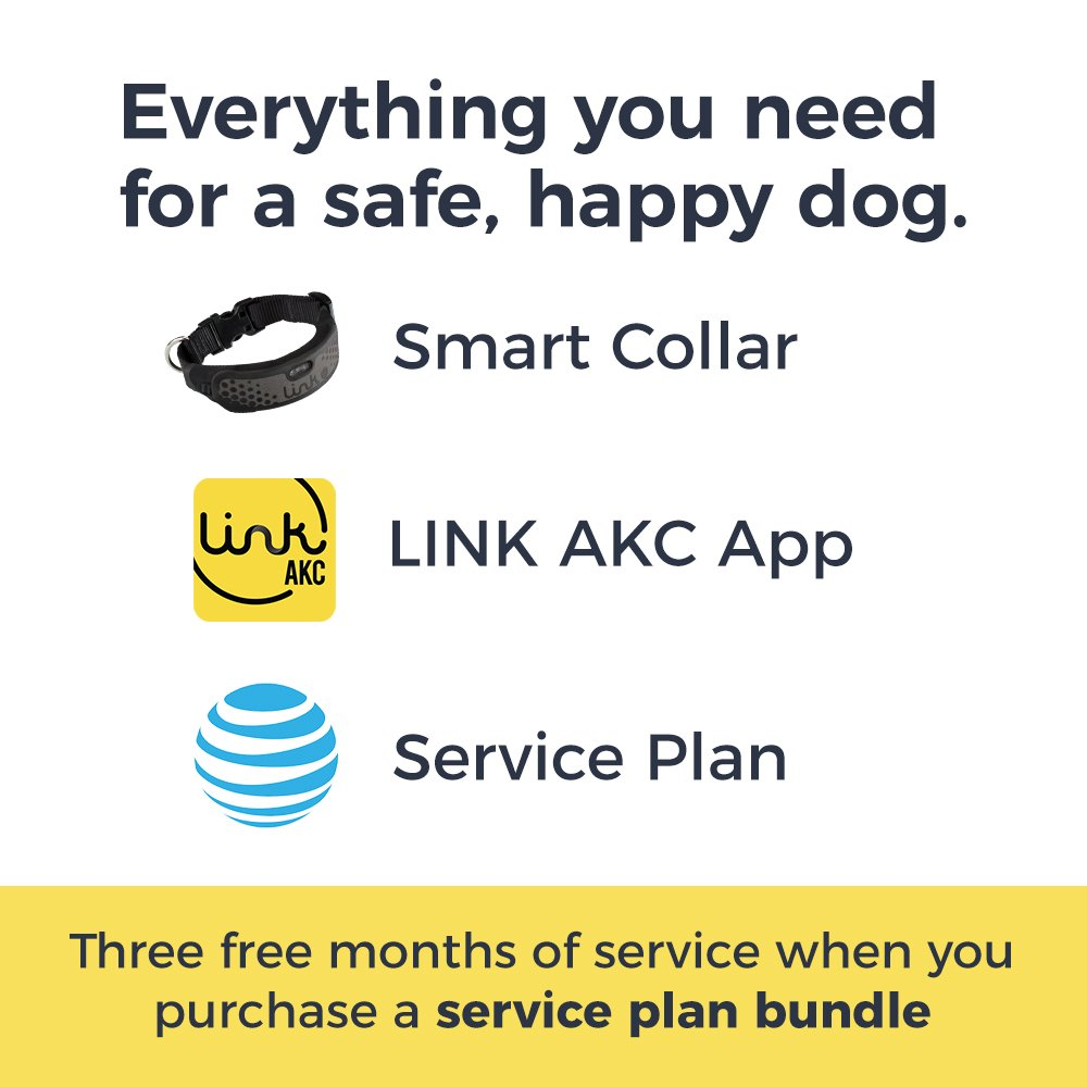 Link AKC Smart Dog Collar - GPS Location Tracker, Activity Monitor, and More, Sport Medium + 1 Year Service Plan (KITSV02)
