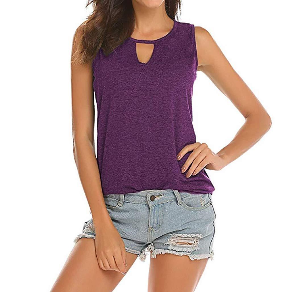 HHei_K Women Summer Boatneck Sling Hollow-Out Backless Tank Tops Sleeveless Keyhole Blouse Sexy Plain Slim T-Shirt Purple