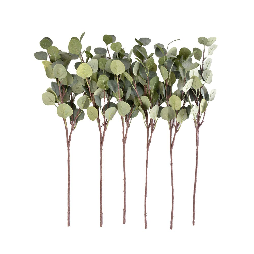 6PCS Artificial Plant Fake Eucalyptus Leaves Branches Silver Dollar Leaf Spray Greenery Tree Garland for Home Garden Patio Office Wreath Decoration Youthny