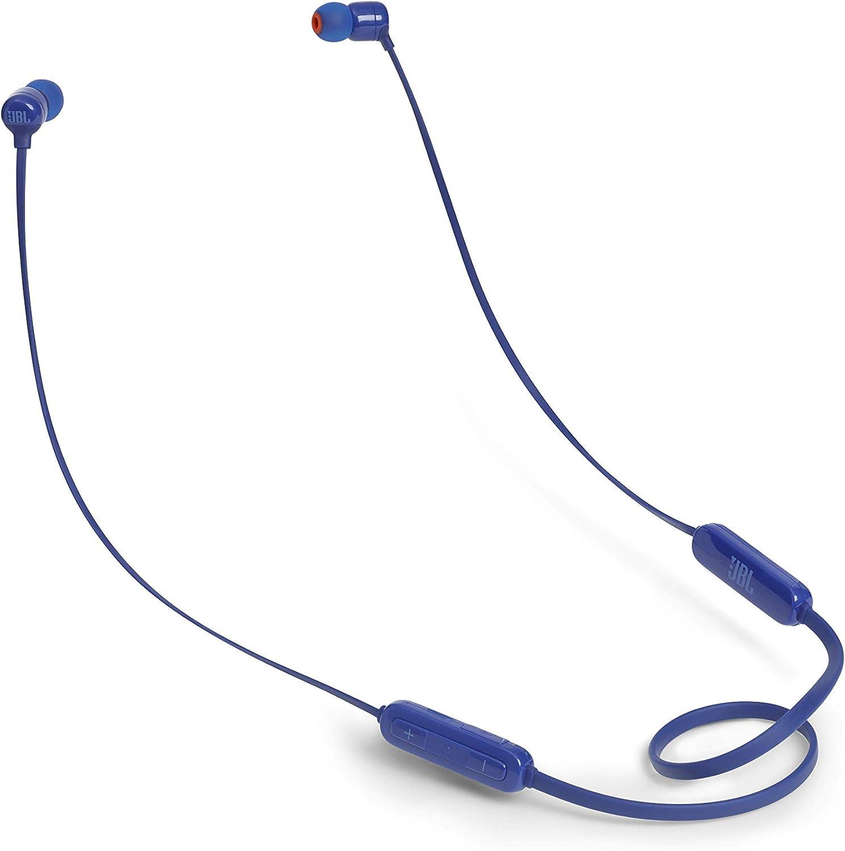 JBL T110BT - Auriculares inalámbricos intraurales con Pure Bass, Bluetooth, con mando a distancia y micrófono, Batería de hasta 6 horas, 2h de recarga, Color Azul