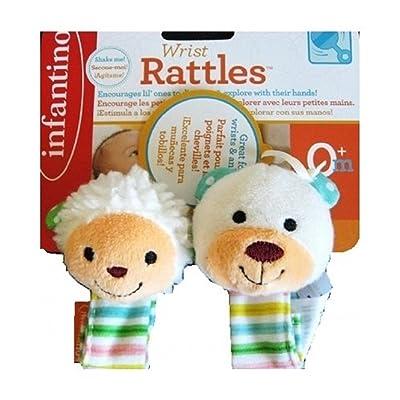 Infantino Wrist Rattles - Lamb and Bear : Baby Rattles : Baby