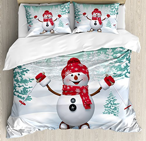 Ambesonne Christmas Duvet Cover Set Queen Size, Snow Covered Mountain with Fir Trees and Skiing Snowman Fun Holiday Activity, Decorative 3 Piece Bedding Set with 2 Pillow Shams, Teal Red White (Skiing Snowman)