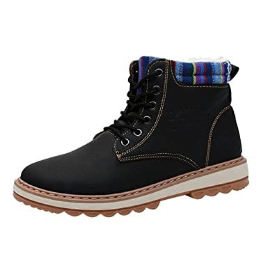 a772c8332262 DENER❤ Men Winter Ankle Work Boots with Fur Lining, Leather ...