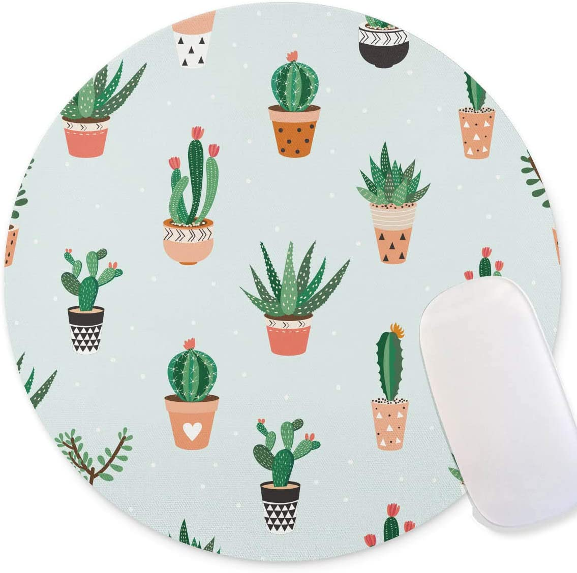 Timing&weng Seamless Pattern with Cacti and Succulents Round mosue pad Non-Slip Mouse pad Gaming Mouse pad
