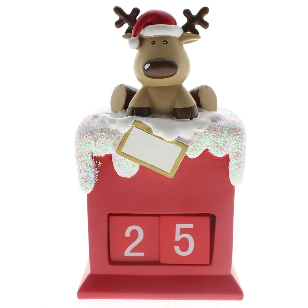 SMYER Christmas Countdown,Countdown to Christmas Reindeer Calendar Good for Christmas Decoration,Made of Resin BC Home Gifts Factory