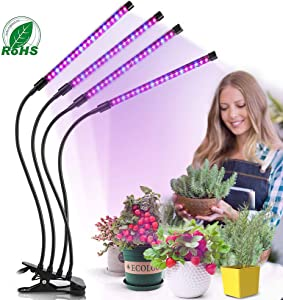 Desktop LED Grow Lights for Indoor Plants with Clip- 4 Heads 80W -Red Blue Purple Lights, 80 LED Lamps,9 Dimmable Brightness-Auto Timing with 3 Lighting Modes On Desk,1 Pack