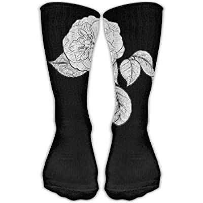 Kjaoi Crew Socks Sketch Black Flower Sock Protect The Wrist For Cycling Moisture Control Elastic Socks 11.8inch