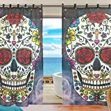 Cheap INGBAGS Bedroom Decor Living Room Decorations Skull Flower Galaxy Pattern Print Tulle Polyester Door Window Gauze / Sheer Curtain Drape Two Panels Set 55×78 inch ,Set of 2