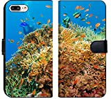 Luxlady iPhone 7 Plus Flip Fabric Wallet Case IMAGE ID: 34145276 Tropical Anthias fish with net fire corals on Red Sea reef underwater