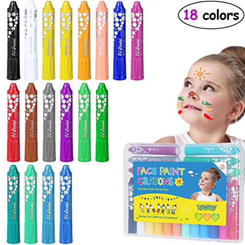 (TOYMYTOY Face Paint Face and Body Crayons 18 Colors Halloween Makeup Kits Safe & Non-Toxic Makeup Washable Paint)