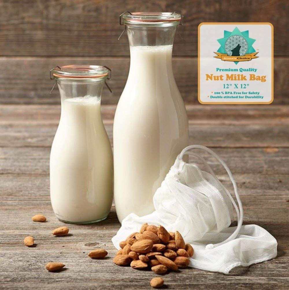 Tuerca de leche bolsa - PREMIUM CALIDAD by Alma De Elección - sin BPA Fine 200 - Nylon De Malla - 12