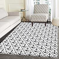 Geometric Print Area rug Dotted Frames Anchors Pattern Chevron Style Zigzags Nautical Theme Image Indoor/Outdoor Area Rug 5x6 Dark Blue White