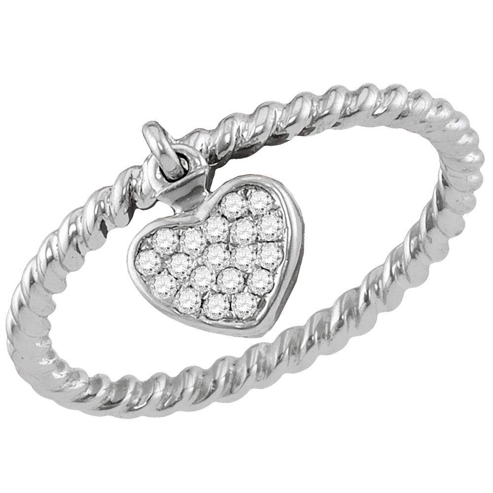10k White Gold Diamond Heart Dangle Fashion Ring Stackable Band Style 1//8 ct