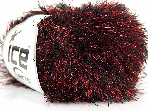 Drama Queen Metallic Eyelash Red Black Ice Glitter Lash Yarn 18613
