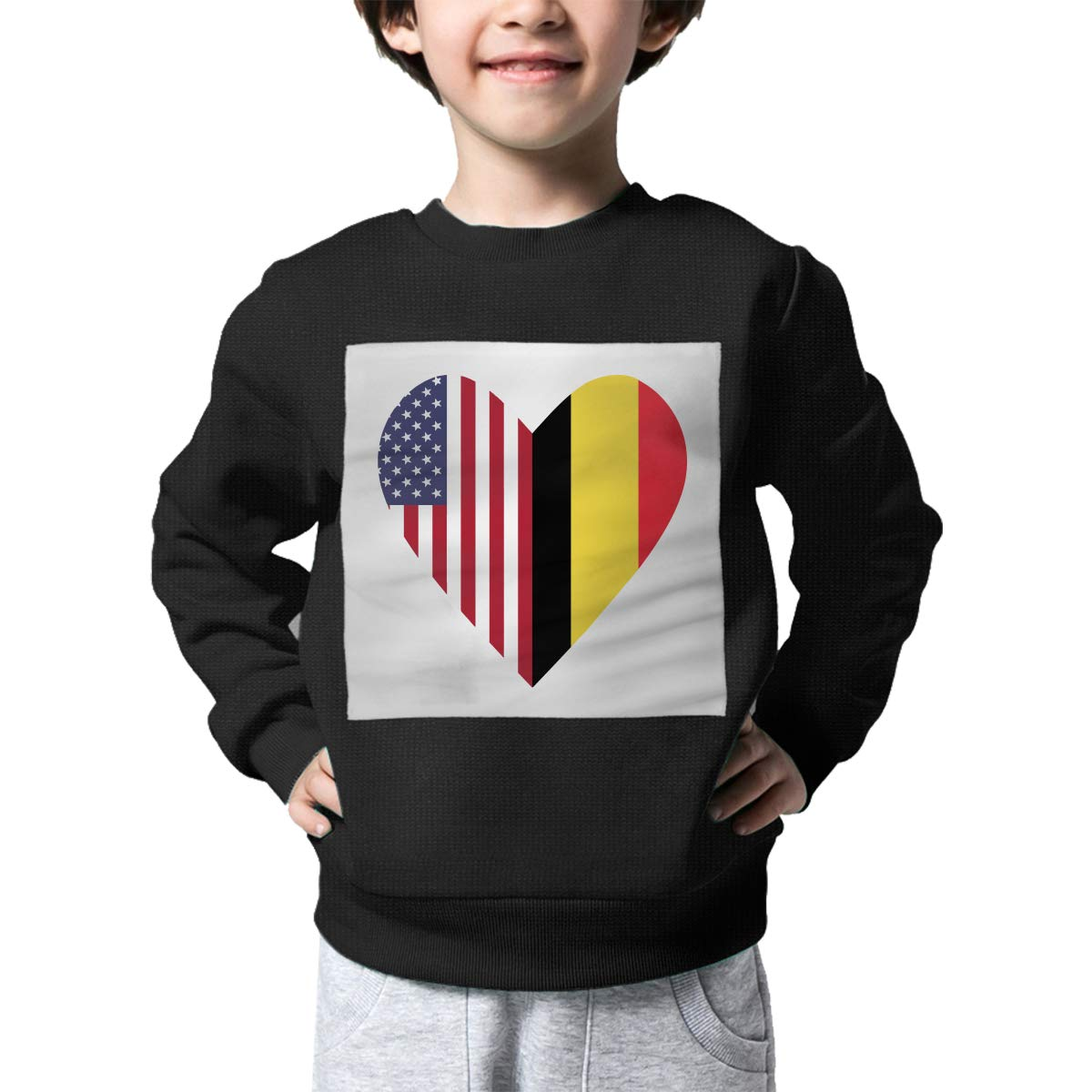 Childrens Half Belgium Flag Half USA Flag Love Heart Sweater Boys Girls Sweatshirt