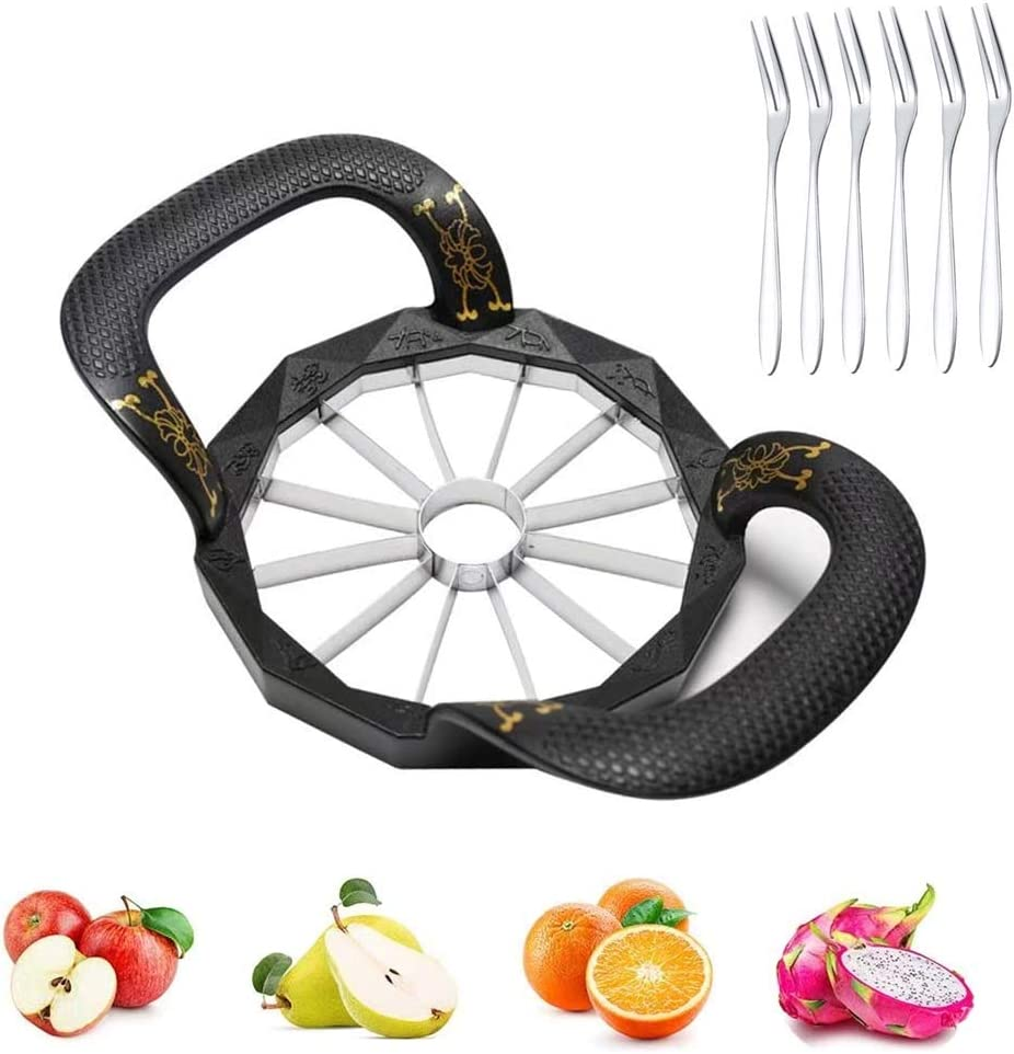 Apple Slicer, Apple Cutter, Upgraded Version 12-Blade Large Apple Corer, Stainless Steel Heavy Duty Fruits Slicer with 6 Fork, for Apple, Potato, Onion and More, (Divider for Up to 4 Inch Apples)