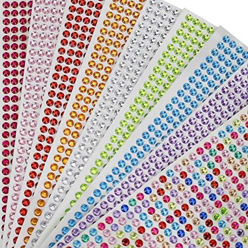 15 hojas 1982 Piezas para Joyas para Cara Ojos Ni/ños DIY Tarjetas de Artesan/ía Adorno Joya de Cristalino Decoraciones Baozun Brillantes para Decorar Diamantes Autoadhesivas