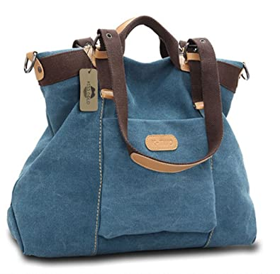 5d51be6f7439 KISS GOLD(TM) Women s Casual Canvas Top-Handle Bag Shoulder Bag (Blue