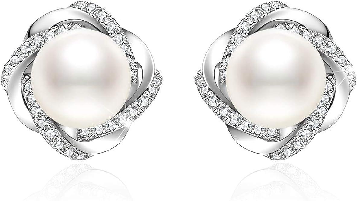 J.Venus pendientes para mujer perlas pequeñas Set Basic 925 plata de ley zirconia con estuche