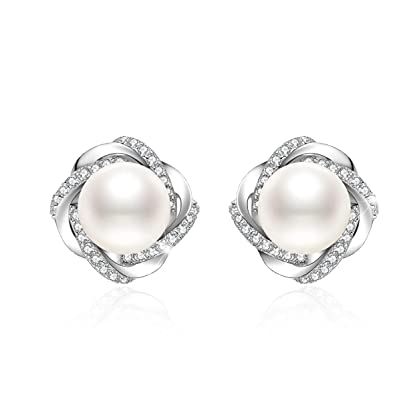 a4b557899 J.Vénus Women Jewelery 925 Sterling Silver Freshwater Pearl Stud Earrings  Zirconia Set with Jewelry Box Ideal Gift: Amazon.co.uk: Jewellery