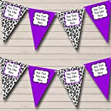 Black White Purple Animal Print Personalized Birthday Party Bunting Banner